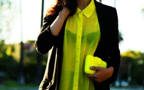 blusa transparente neon