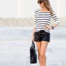 Básicos: Shorts de piel o faux leather en color negro