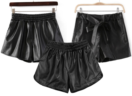 Básicos: Shorts de piel o faux leather color negro
