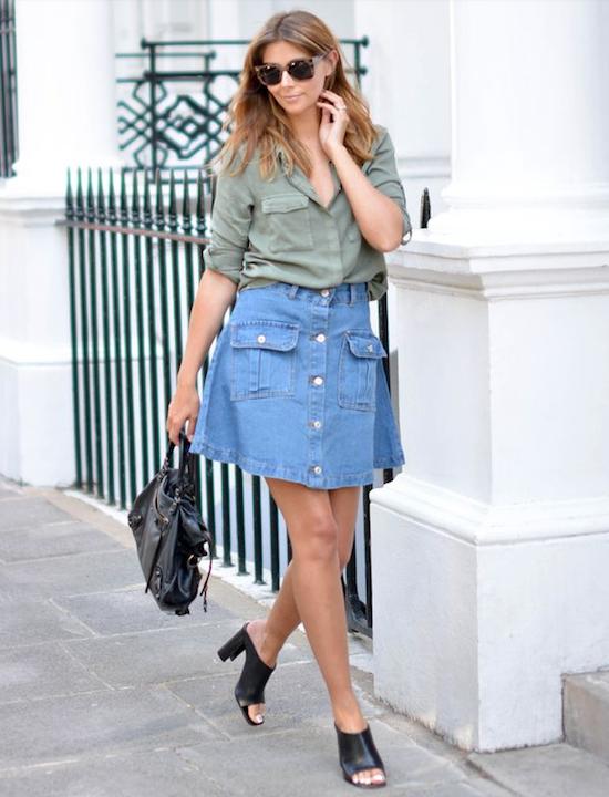 tendencia falda abotonada 90s