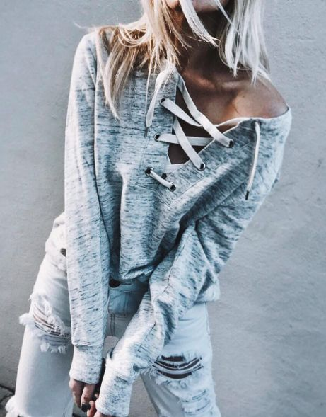 tendencia lace up sweater