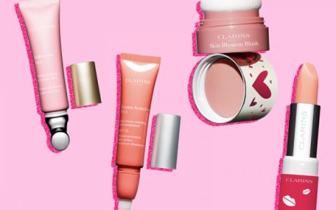 Tratamientos contorno de ojos, blush y bálsamo de labios hidratante de Clarins