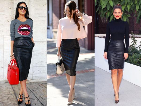 54cd0c9da Nuevas formas de usar la clásica falda de piel negra