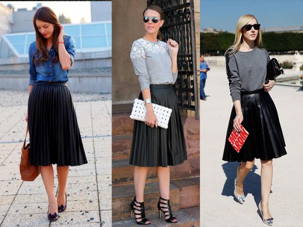 4ee63e42c Nuevas formas de usar la clásica falda de piel negra